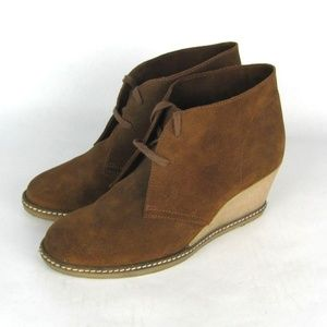 J CREW Macalister Brown Suede Wedge Booties 10.5